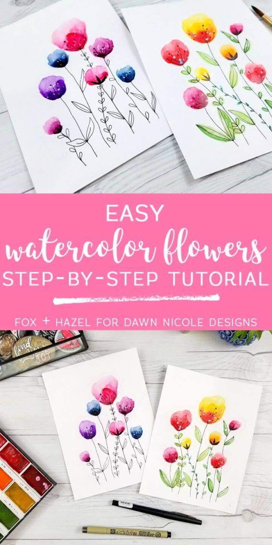 Easy Diy Watercolor Flowers Step By Step Tutorial Diyandcrafts