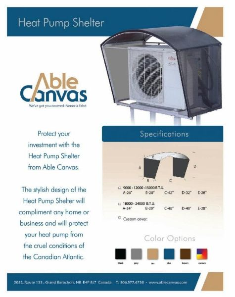 Heat Pump Canvas Shelters Able Canvas Northeast