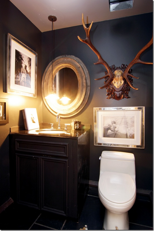 Black Rustic Bathroom Vanity: Dark And Dramatic Half Bath. Love The Combination Of Dark
