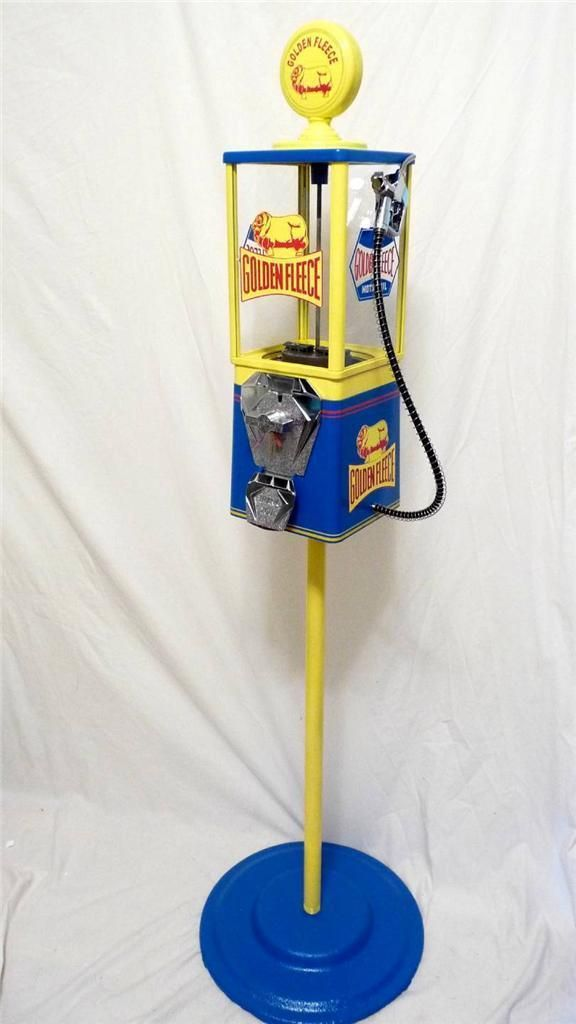 Oak Vintage Gumball Machine Golden Fleece Antique Gas Pump Motor Oil Coin Op | eBay