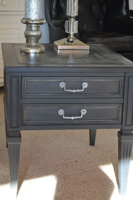 House Of Babs: End Table Makeover   Annie Sloan Graphite Chalk Paint