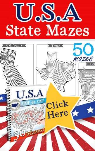 50 State Mazes for Kids. USA State Mazes in the shape of each state! This set…