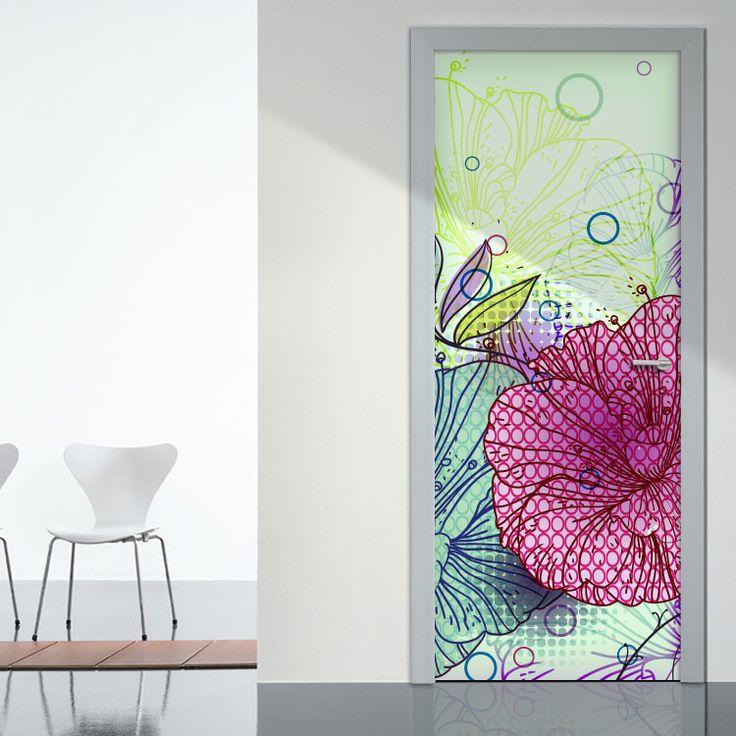 Αυτοκόλλητο Πόρτας Houseart - Λουλούδια