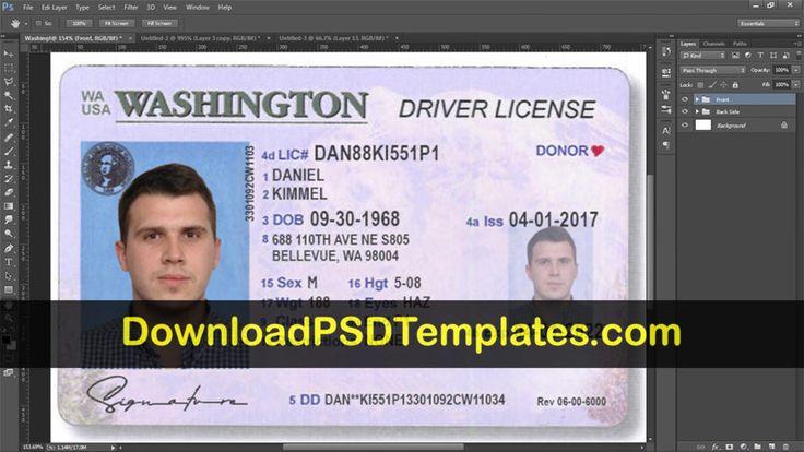 washington drivers license psd wa editable template