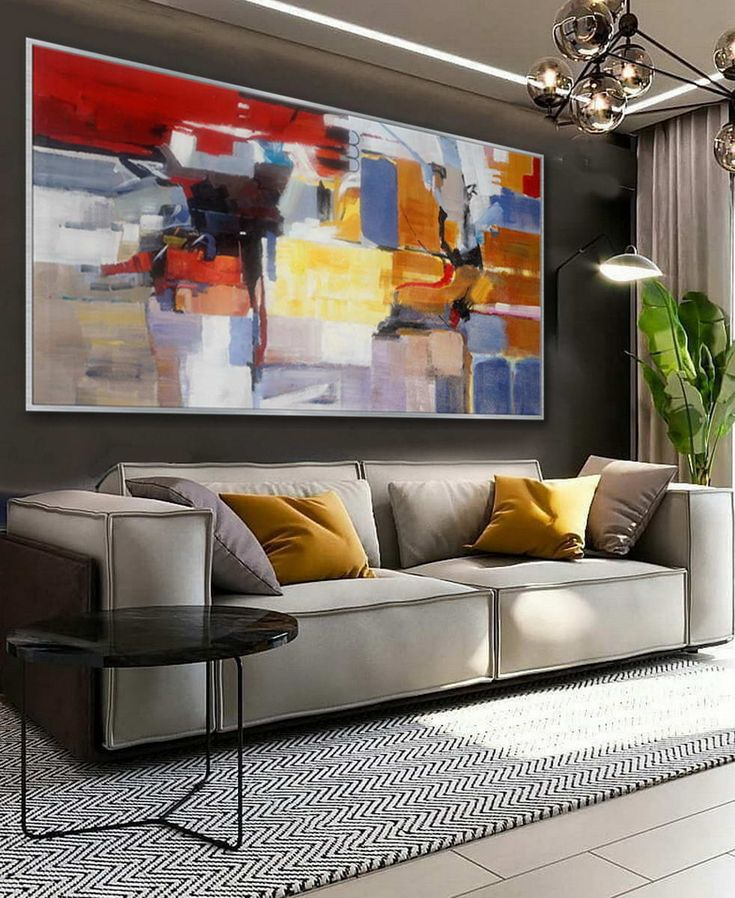 colorful blue modern contemporary artwork large horizontal on wall paintings id=38831