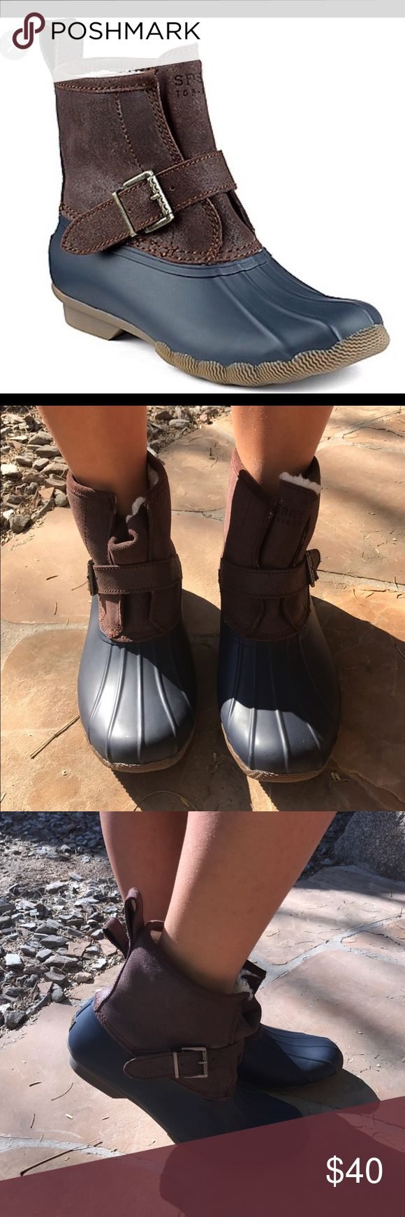Sperry Top-Sider Boots 12 Pull on these waterproof winter boots to complete your cold weather look! With soft faux fur lining and a trendy duck boot design, the rip water snow boots will keep you cute and cozy all winter long. Worn maybe once Shoes