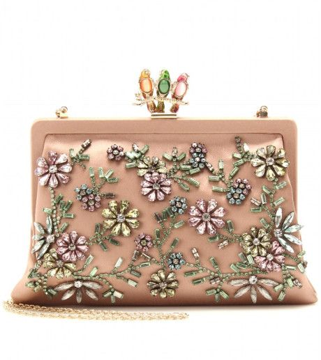 Valentino Embellished Pink Satin Clutch