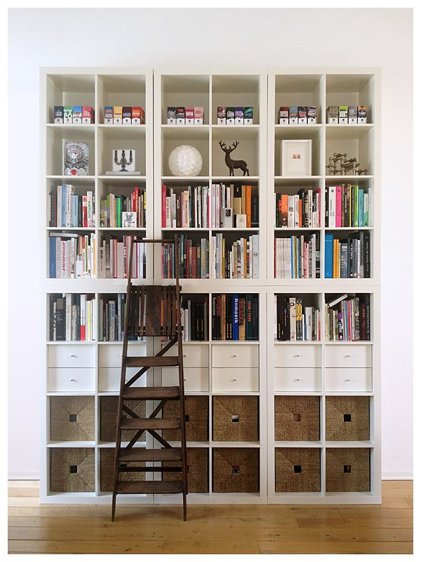 Great use of Ikea's EXPEDIT series (if I'm not mistaken...)   From BOOKSHELF PORN