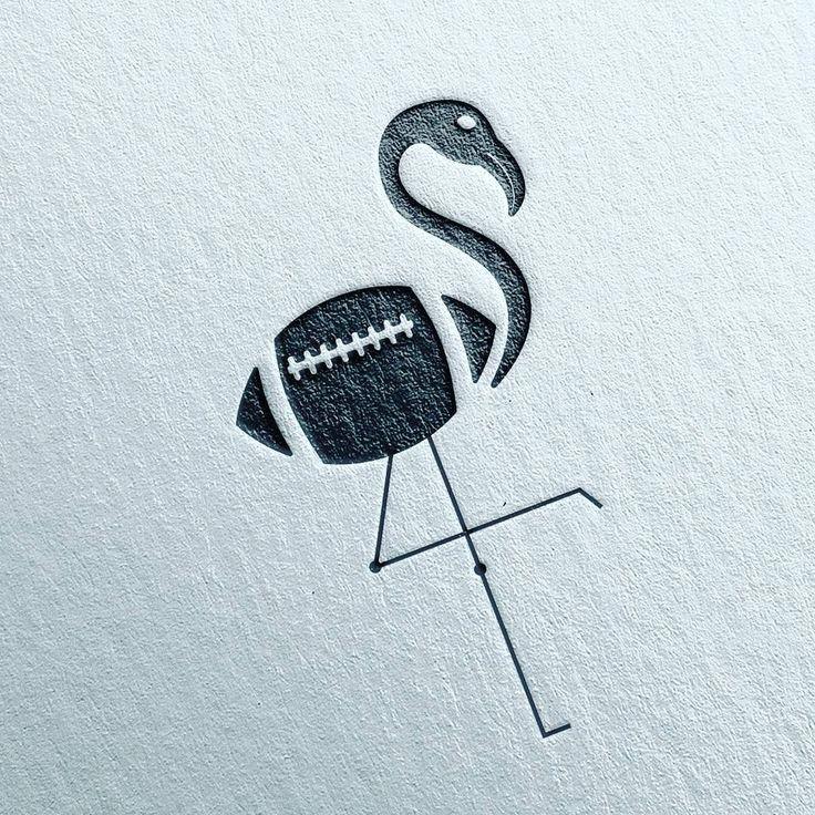 "Football Flamingo logo   Vanila Design (@vanila.design) on Instagram: ""from @enrico_design - Logo Concept. This idea I got from flamingo bird +  __ #flamingo…"""
