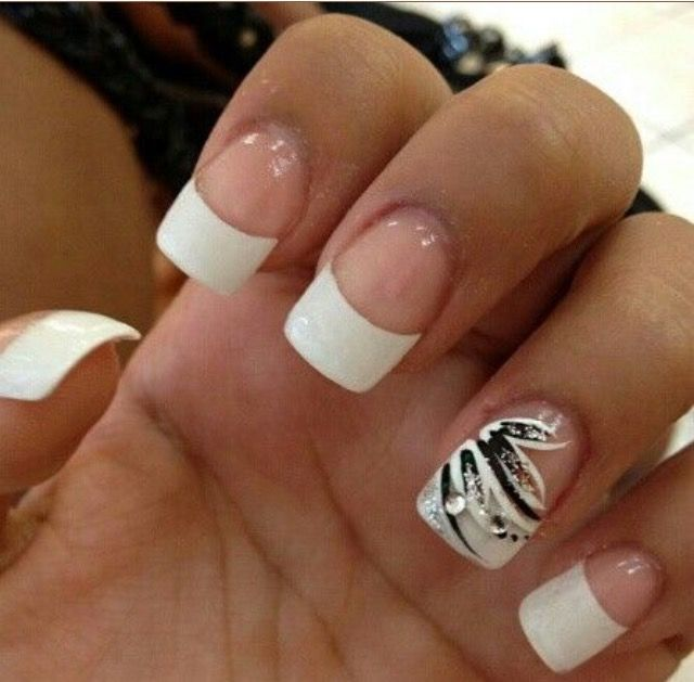 white french tip nails - 90 Best Nail Art Images On Pinterest French Manicures, French