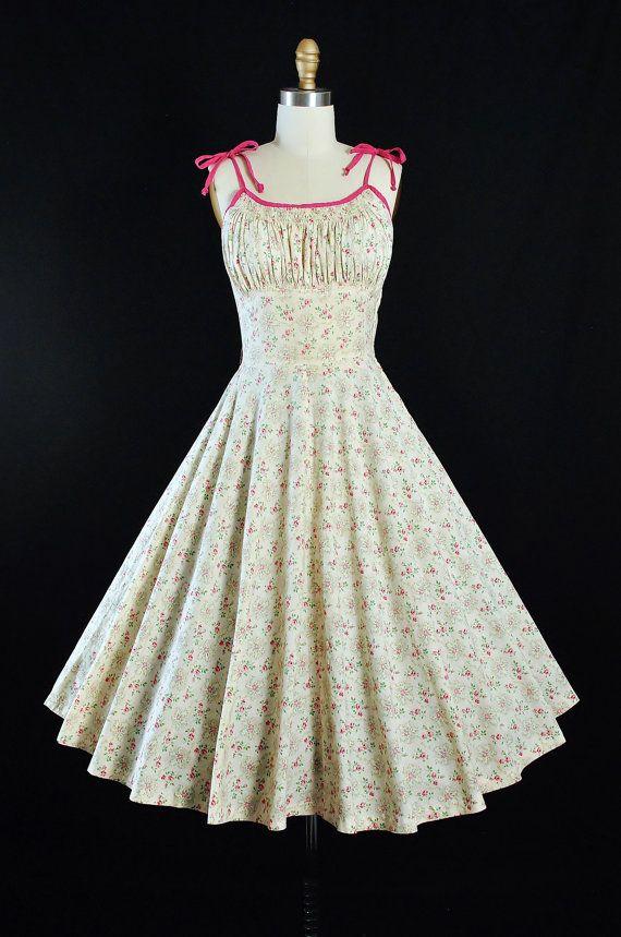 Vintage 50s Dress / 1950s Cotton SUNDRESS Pink by GeronimoVintage