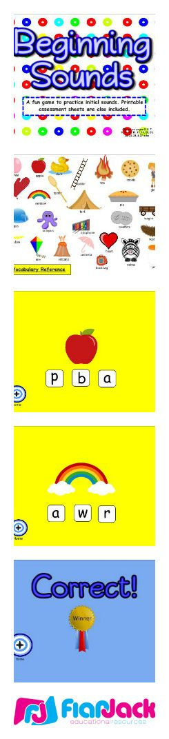 "($) Beginning Sounds SMART BOARD Game - In this Smart Board game, students hit the bull's eye and then choose the beginning letter of a picture shown. This game is kindergarten common core based and includes a download for a two-page printable assessment worksheet that contains the standard(s) covered and an ""I Can"" statement. Every letter of the alphabet is covered."