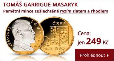 Pamětní mince T. G. Masaryk zušlechtěná tyzím zlatem a rhodiem