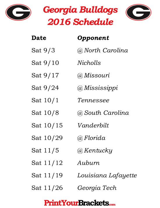Printable Georgia Bulldogs Football Schedule 2016
