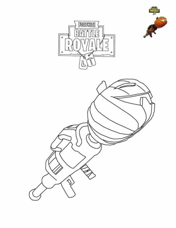 Fortnite Pumpkin Launcher Coloring Page Dibujos Imprimir