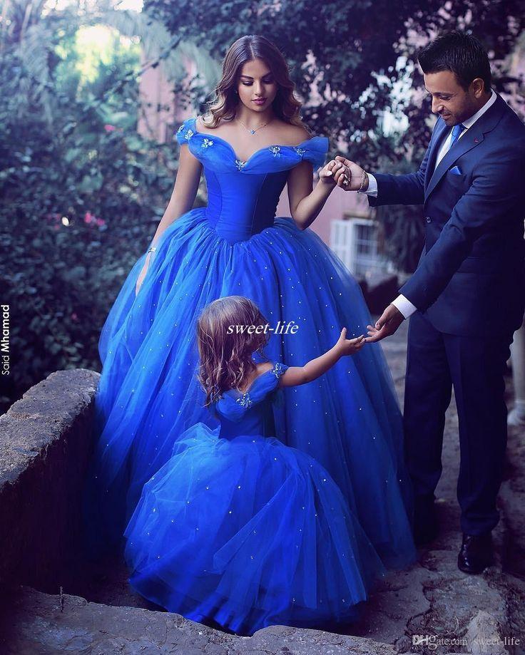 Royal Blue Prinzessin Hochzeit Blumenmädchen Kleider Puffy Tutu Schulterfrei Sparkly Kristalle 2017 Kleinkind Kleine Mädchen Festzug Kommunion Kleid – 001743967000