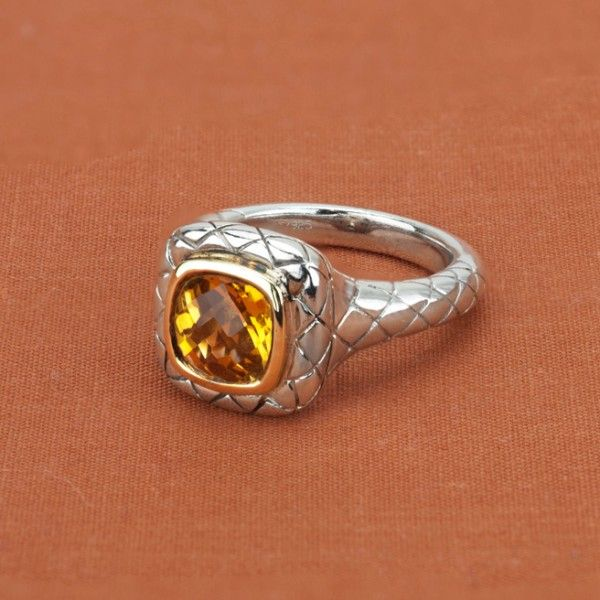 Charles Krypell Sterling Silver & 14K Yellow Gold Cushion Citrine Ring - $220.00