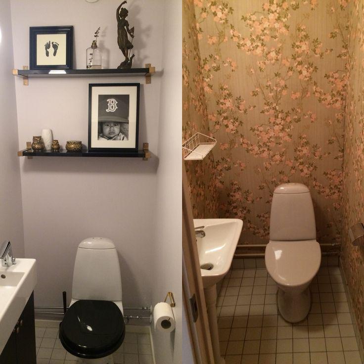 Efter / före på vår gästtoalett.  Före efter gästtoalett med enkla knep. Hyllor, kommod, spegel, belysning från Ikea.