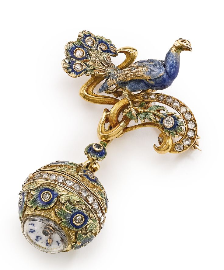 SWISS A YELLOW GOLD, ENAMEL AND DIAMOND-SET BALL-FORM PENDANT WATCH WITH PEACOCK MOTIF CIRCA 1890