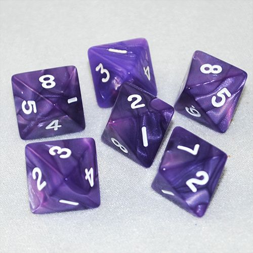 Pearlized Purple and White 8 Sided Dice