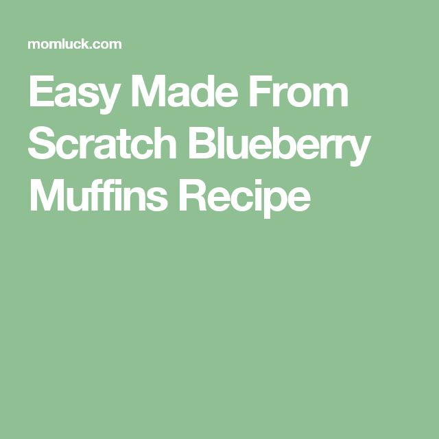 Easy Made From Scratch Blueberry Muffins Recipe