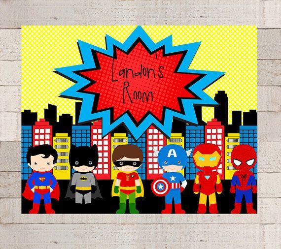 SUPERHERO Friends Wall Art  PERSONALIZED  PRINTABLE 8x10  Superhero Room  Decor  Superhero Sign. 25  unique Superhero room decor ideas on Pinterest   Superhero