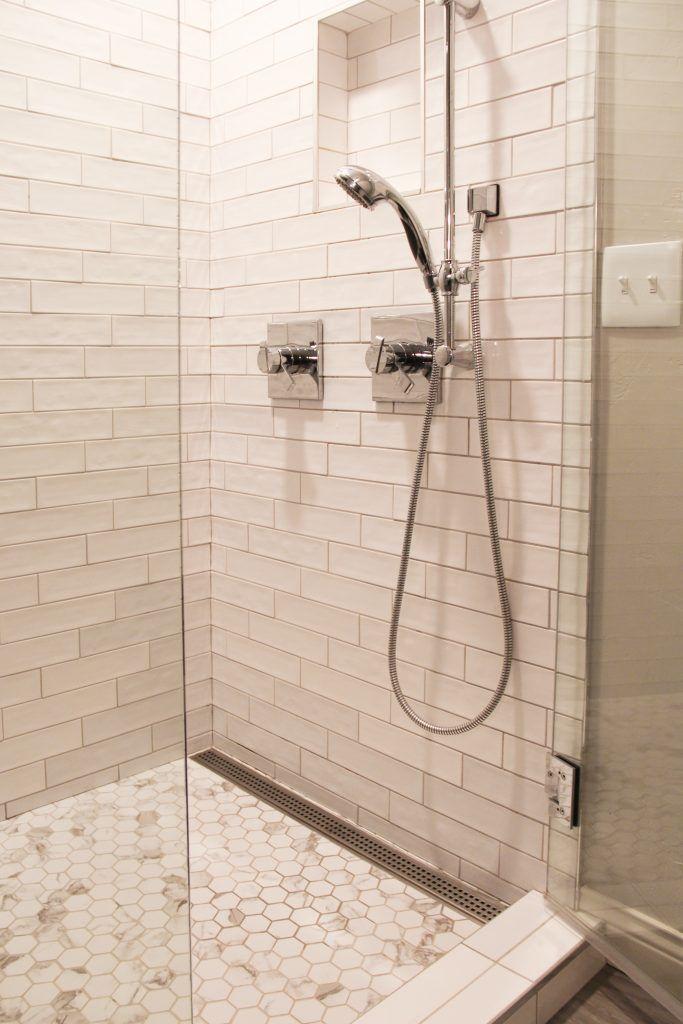 White Tile Shower With Hexagon Mosaic Tile Shower Floor White