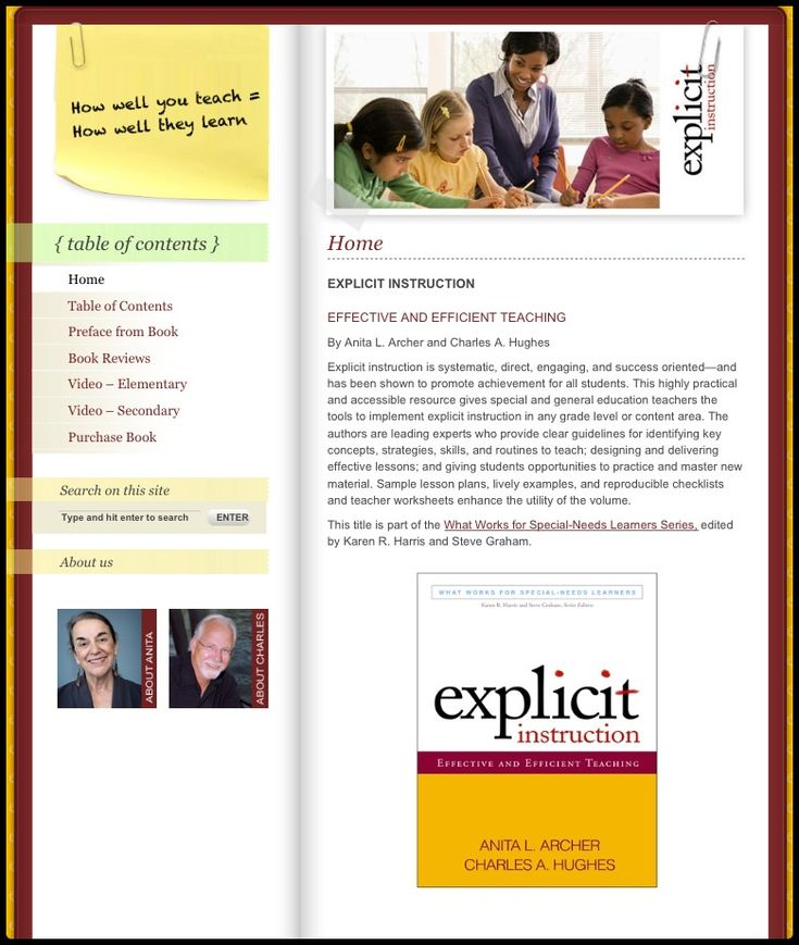 5/2013- Great website with videos demonstrating explicit teaching.