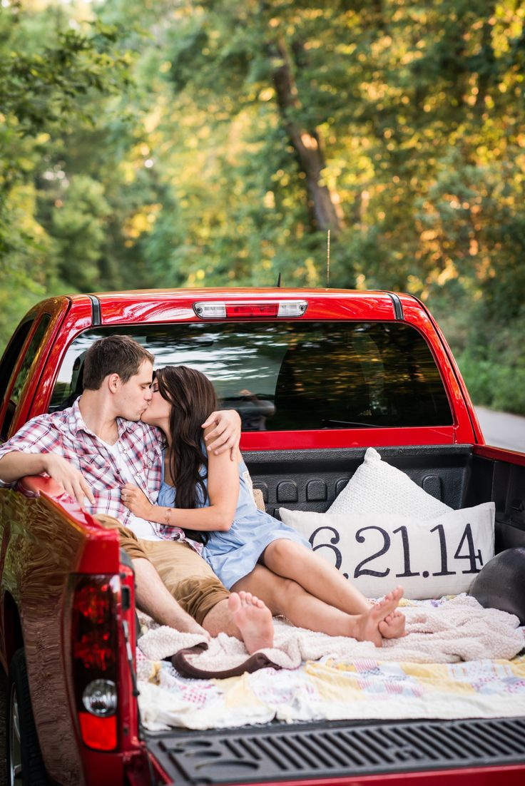 Romantic, outdoor engagement photos with truck // Bright Shot Photography // St. Louis, Mo.