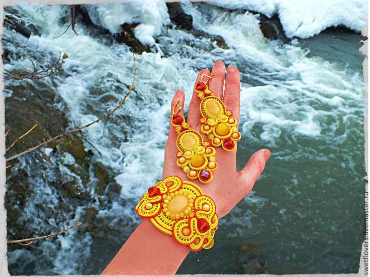 """СУТАЖНЫЙ КОМПЛЕКТ """"НЕФРИТОВЫЙ БУДДА"""" - желтый,оранжевый цвет,сутажный комплект"""