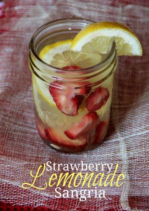 Strawberry Lemonade Sangria:     2 lemons, thinly sliced     2 cups strawberries, sliced     1 bottle white wine     1/2 cup rum     6 oz frozen lemonade concentrate     Mix all ingredients in a pitcher and stir.  Cover and refrigerate at least 4 hours until ready to serve.