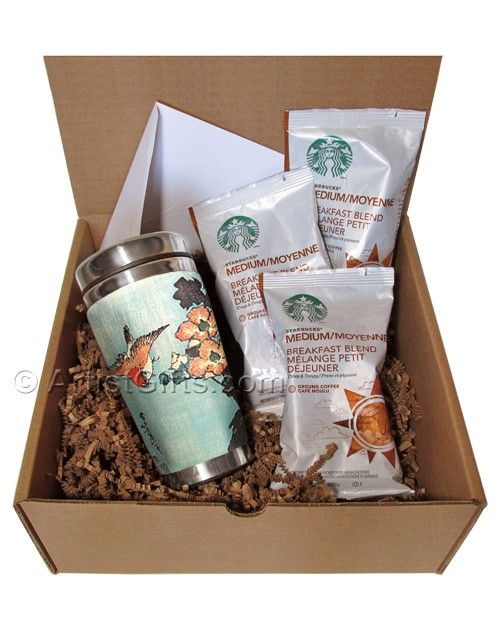 Coffee Gift Set with Insulated Art Mug Hibiscus & Sparrow