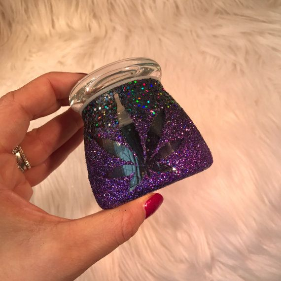 Purple and Black Ombre Sparkly Stash Jar by StrawberryCoughs