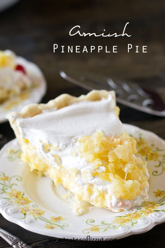 Amish Pineapple Pie Recipe by Tastes of Lizzy T. A unique pie recipe from an old Amish cookbook. This Amish Pineapple Pie is a creamy, cool sweet treat that won't heat up your kitchen!