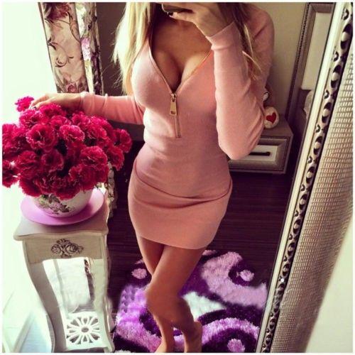 Sexy Slim Fit mit V-Ausschnitt mit langen Ärmeln Kleid
