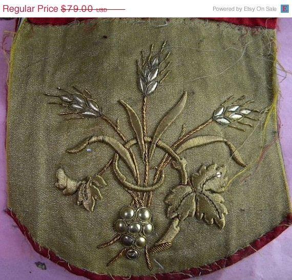 AUTUMN SALE  - Large Antique French Vestment Applique Gold Metallic Floral
