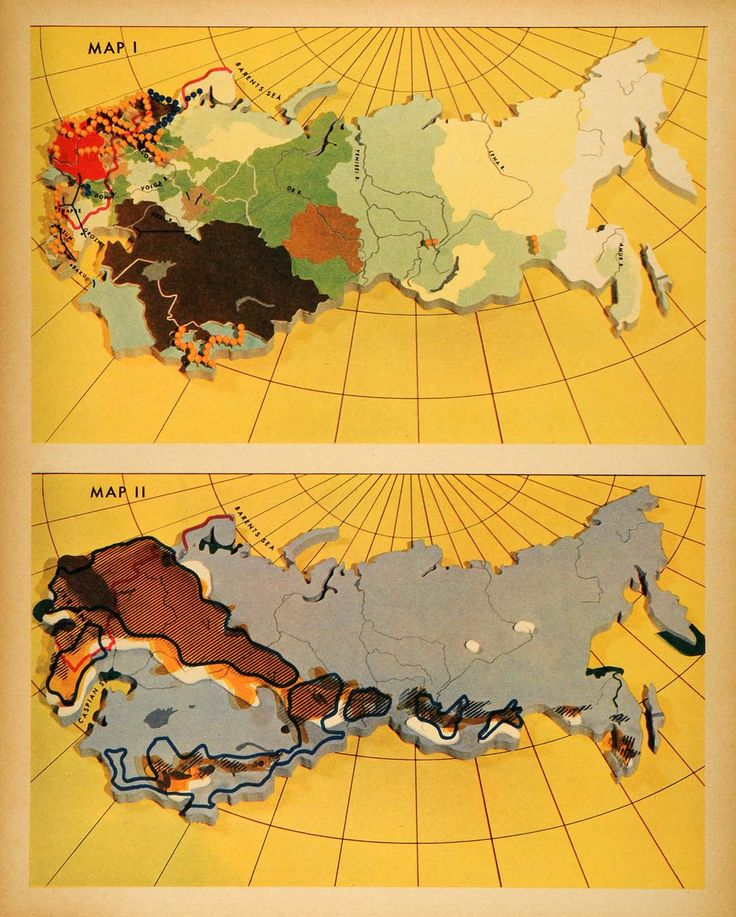 1942 Print Map Europe Russia Asia Agriculture