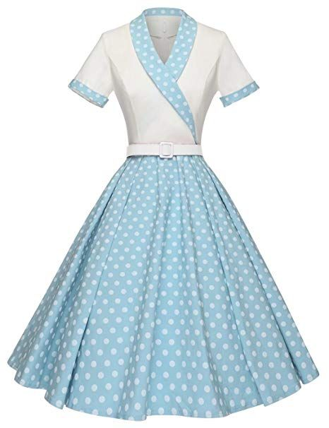 Amazon Com Gowntown Women1950s Printed Dot Floral