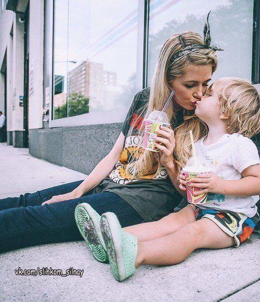 У меня есть ангелочек, а зовут его — Сыночек! А у Сына есть охрана, а зовут охрану — Мама!