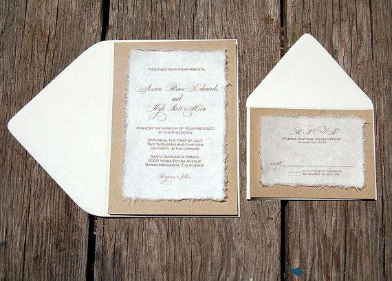 diy simple rustic cardstock wedding invitations by
