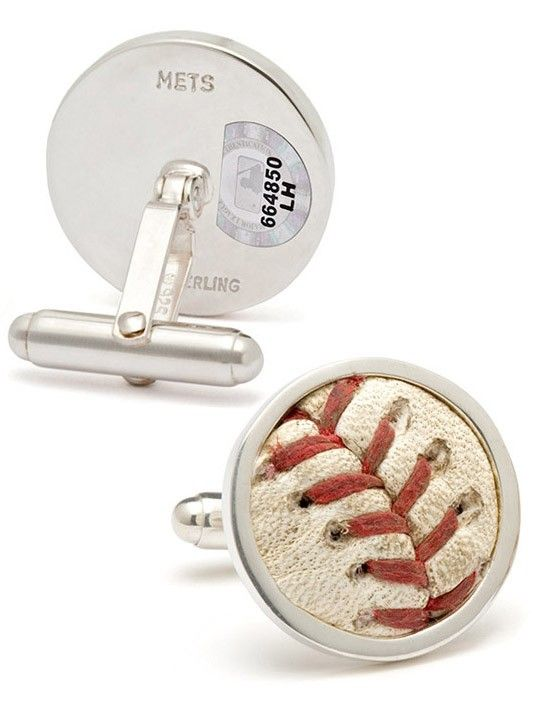 Mets Game-Used Baseball Cufflinks