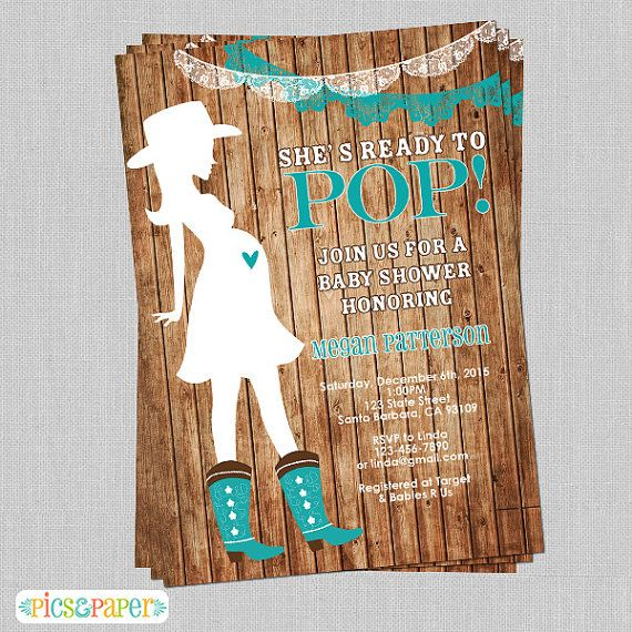 western theme in teal pregnant cowgirl theme baby shower invitation rustic theme printed or or navy
