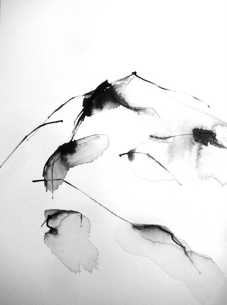 24x32cm Schwarz Weiß Tusche Zeichnung Aquarell Unikat Kunst Abstrakt Zen Minimal