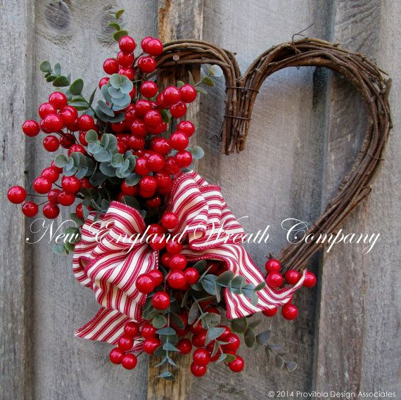 Valentine Wreath, Heart Wreath, Designer Wreath, Berries, Country Cottage  Sweetheart Berry Wreath. Bright cherry red berry branches and sage