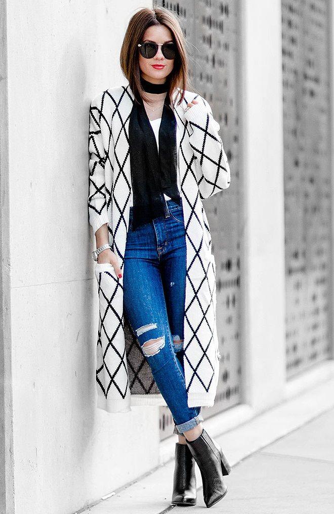 модная геометрия, длинный вязаный кардиган, модные вещи зима весна лето осень 2016, модные тренды зима весна лето осень 2016 (фото 8)