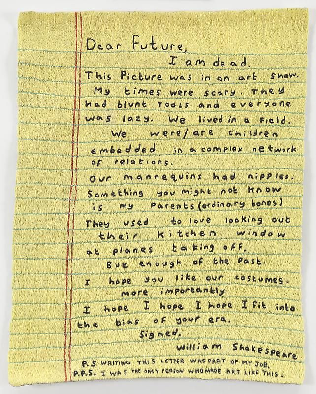 Simon Evans. | Letter To The Future, 2011 | Hand-stitched embroidery, 9 1/2 X 11 3/4