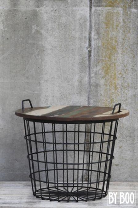 By Boo metalen mand met deksel als tafeltje te gebruiken in het zwart