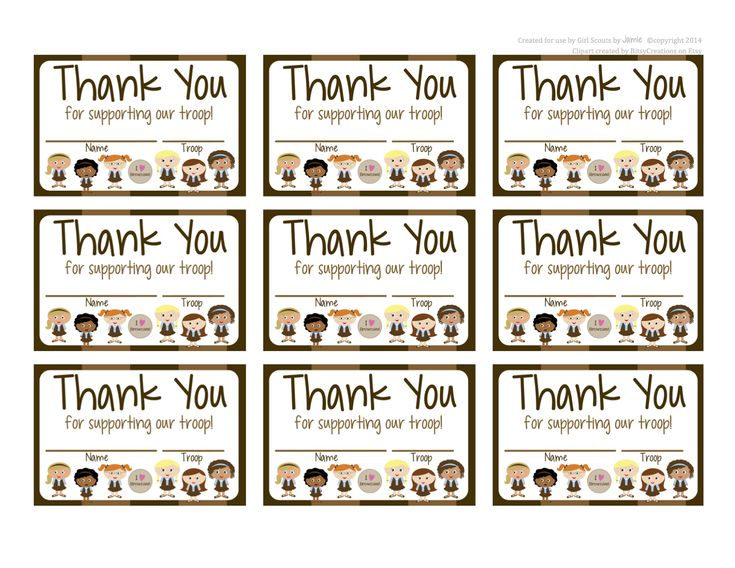 My Fashionable Designs: Girl Scouts: Brownies FREE Printable Thank You Cards