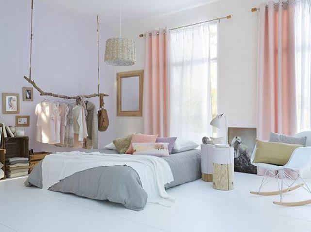 Chambre rideaux rose