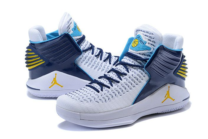 6c6185c275ab 2018 Legit Cheap Air Jordan 32 White Navy Blue-Yellow PE Size Euro ...